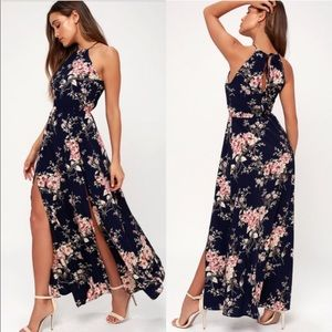 Lulu's Feel the Music navy floral maxi dress